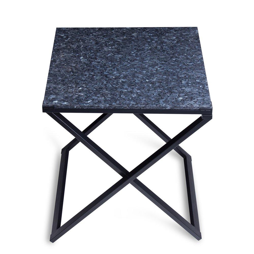 SLEEPLACE SVC22TB01S Granite Top, Blue Pearl & Black Side Table
