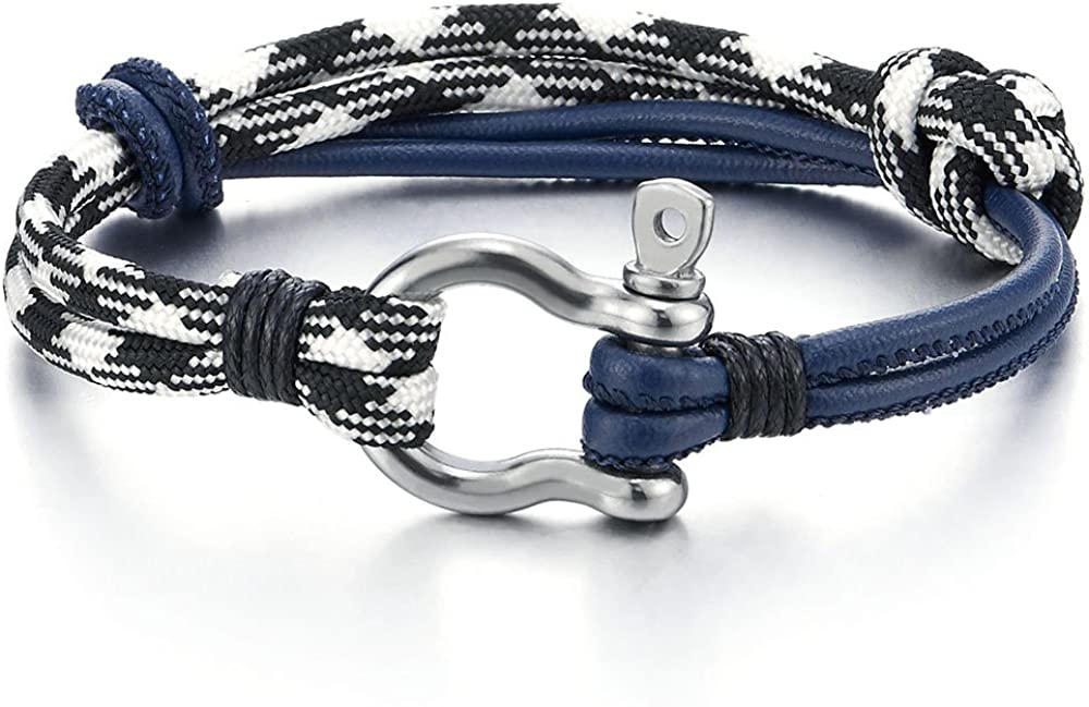 Cuir sur Cordon COOLSTEELANDBEYOND Acier Bracelet Vis Manilles dancrage Nautique Marin Envelopper Bracelet Homme Femme