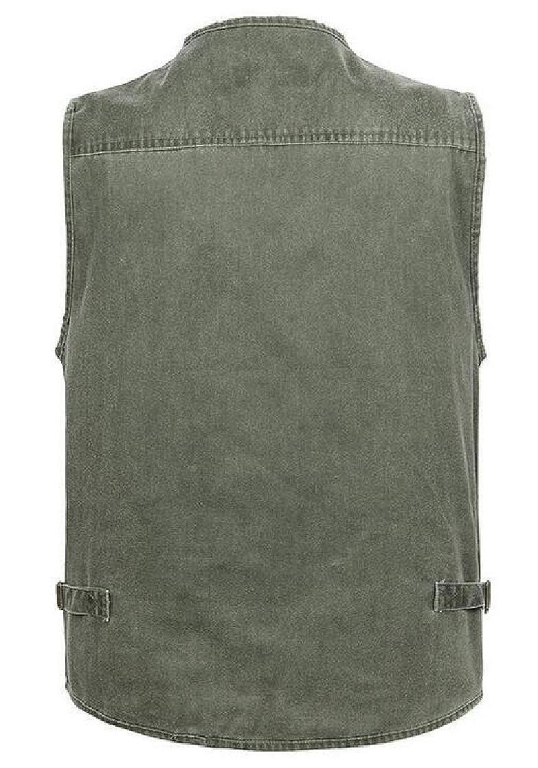 Joe Wenko Men Cargo Multiple Pockets Plus Size Sleeveless Denim Photo Vest Jackets Coat