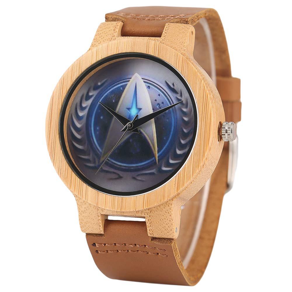 Star Trek Bambus Armbanduhr, Herren Handgefertigt Natur