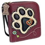 Chala Paw Print Zip-Around Wristlet Wallet, Dog Mom Gift Dog Lover (Maroon/Ivory)