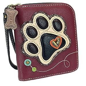 Chala Ivory Paw Print Zip-Around Wallet, LaserCut Plum Tote- Dog Mom Gift Set