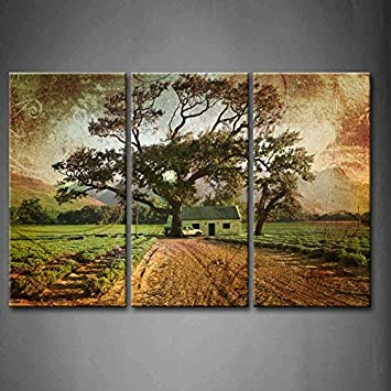 First Wall Art 3 Panel Wall Art Brown Grunge Illustration Of Green Lavender  Fields With