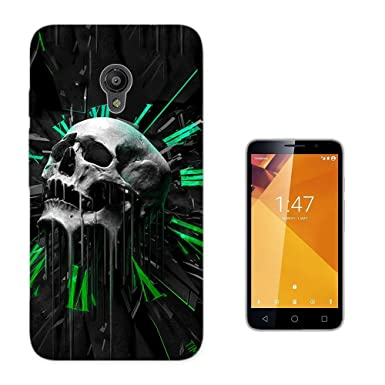 003458 – abstracto tiempo diseño de calavera Vodafone Smart Turbo 7 Fashion Trend Case Funda Silicona