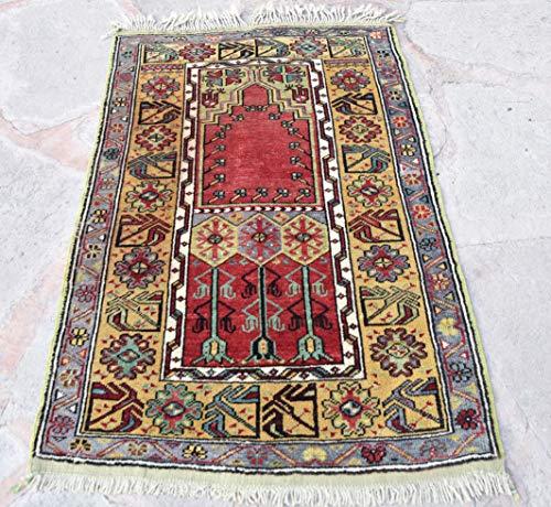 Quality Oriental Prayer Rug, Handwoven Area Rug, Oushak Area Rug, Turkish Prayer Rug, İslamic Prayer Rug, Anatolian Oushak Prayer Rug, Muslim Prayer Rug, Red Yellow Prayer Rug, Home Decor Rug 3' x 4'9 ()