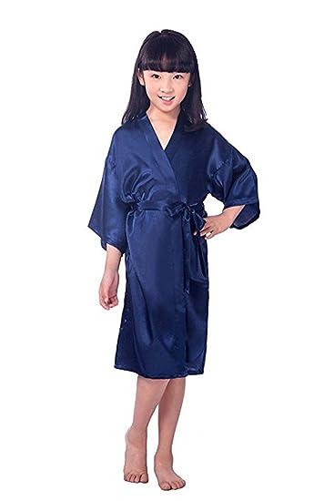 Little Kids Girls Satin Flower Girl Kimono Robe Junior Bridesmaid Child  Bathrobe 4 Dark Blue 0d143a076