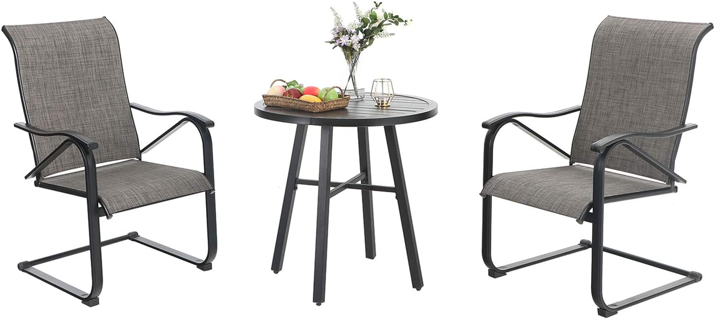 MFSTUDIO 3 Piece Metal Patio Dining Set,Outdoor Bistro Furniture with2 x C Spring Motion Textilene Metal Rocker Chairs and 1 x Round Wrought Iron Table for Garden, Pool, Backyard