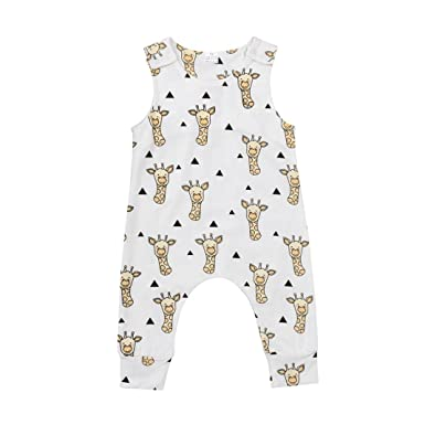 04e002dcd03c Newborn Infant Baby Boys Girls Clothes Cartoon Print Summer Sleeveless  Romper Animals Jumpsuit