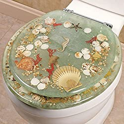 SEASHELL AND SEAHORSE RESIN TOILET SEAT - STANDARD SIZE, GREEN