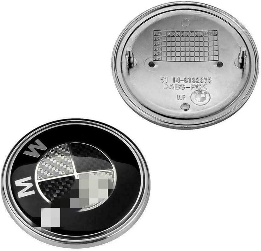 74mm + 82mm Emblems Hood and Trunk Black Carbon Fiber Emblem Logo Replacement Front 82mm Rear 74mm for E30 E36 E46 E34 E39 E60 E65 E38