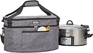 HOMEST Slow Cooker Bag for Crock-Pot 6-8 Quart, Insulated Travel Carrier with Easy to Clean Lining, Carry Case with Top Zip Compartment and Accessory Pocket (Patent Pending) (Renewed)
