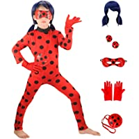 HuangWeida Costumi Cosplay di Miraculous Ladybug Girls Halloween Natale per Ragazze Parrucca Orecchini a Clip per Bambini Coccinella Marinette Cosplay Girls Dress Up (M-43.3-47.2 in)