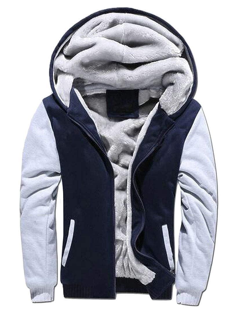 ARTFFEL Mens Hooded Winter Color Block Fleece Lined Hoodie Hooded Sweatshirts Jacket Coat