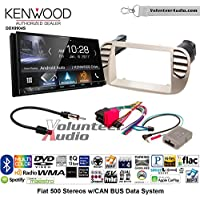 Volunteer Audio Kenwood DDX9904S Double Din Radio Install Kit with Apple CarPlay Android Auto Bluetooth Fits 2012-2015 Fiat 500 (White)