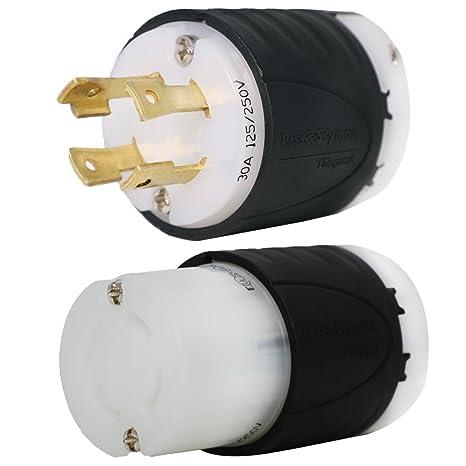 L14-30 Generator Plug and Connector Set, L14-30P + L14-30R, 30A, 125/250V, on