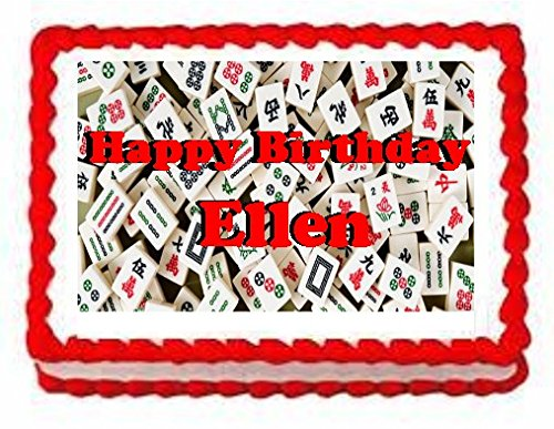 Mahjong Game Cake Edible 1/4 Sheet Image Personalized Topper Birthday Party Favor