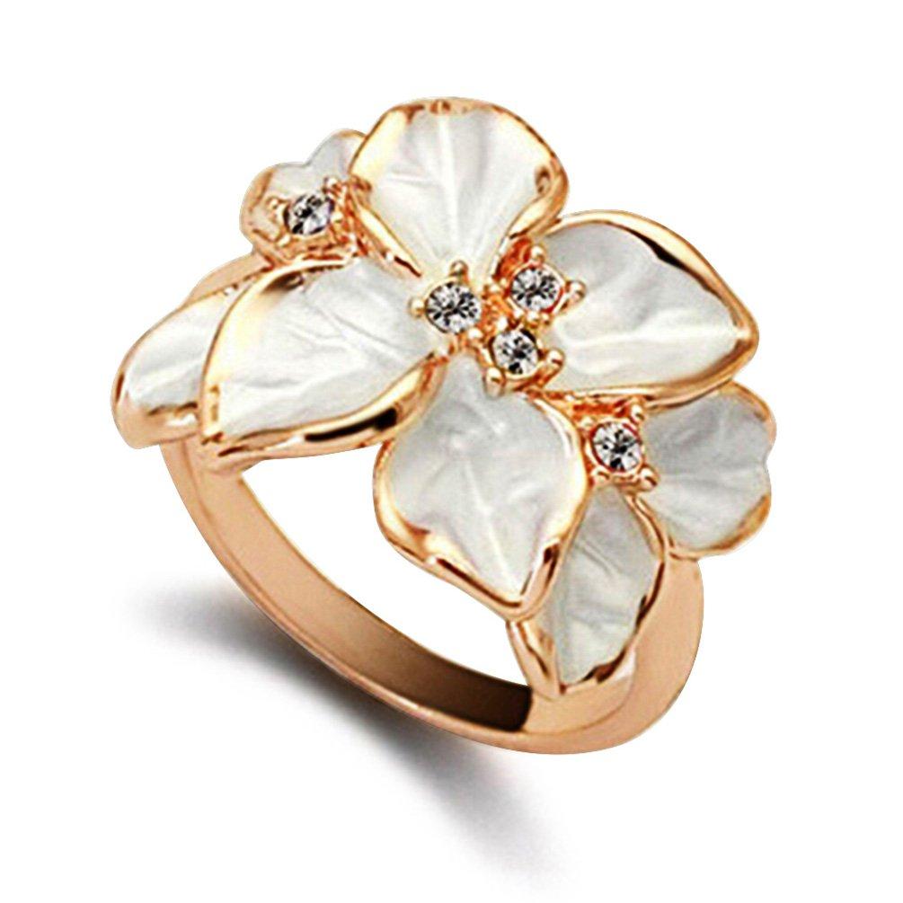Moda donna fiore modello festa Weddding lega anello Charming Jewelry Gift Amesii 53 (16.9) colore: White cod. AME