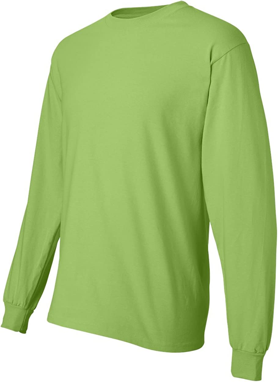 Hanes Men's Long-Sleeve Beefy-T Shirt (Pack of 2) 1 Smoke Grey / 1 Lime
