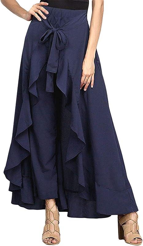 Larga Falda Larga Negro con la Raja Mujer Pantalones de la Colmena ...