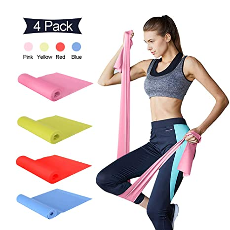 Q-xun Bandas Elasticas Fitness, Cintas Elasticas Fitness 4 Piezas Banda Resistencia Standard para Yoga, Pilates, Crossfit, Estiramientos, ...