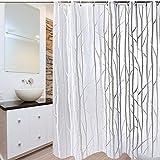 "PEVA Bathroom Shower Curtain, Uphome Birch Forest Pattern - Waterproof Mildewproof Durable Bath Curtain Liner Design (72"" W x 72"" H, Grey)"