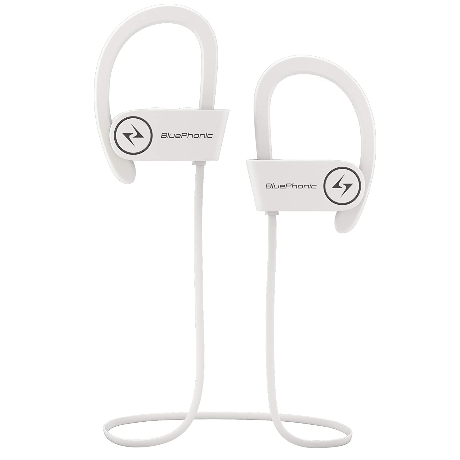 ... Headphones - Hd Beats Sound Quality - Sweat Proof Stable Fit in Ear  Workout Earbuds - Ergonomic Running Earphones - Noise Cancelling Microphone  (White) 5fb3be787
