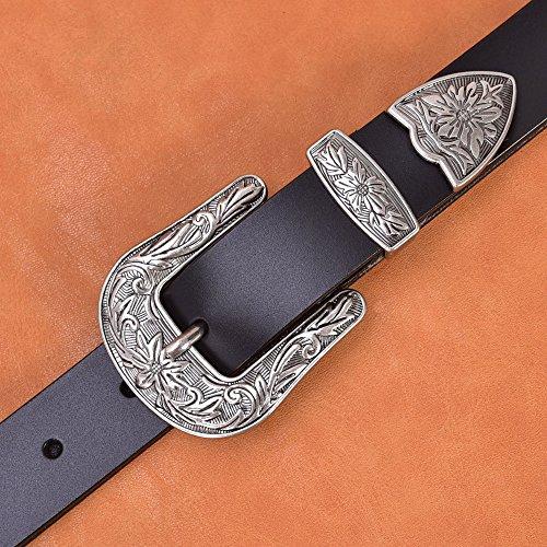 TALLEFFORT-Ladies-Vintage-Western-Leather-Belts-for-Women-Genuine-Leather-Belt