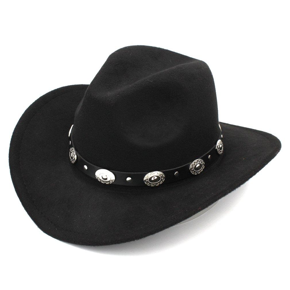Elee Womem Men Wool Blend Western Cowboy Hat Wide Brim Cowgirl Jazz Cap  Leather Band product 2b647db7e232