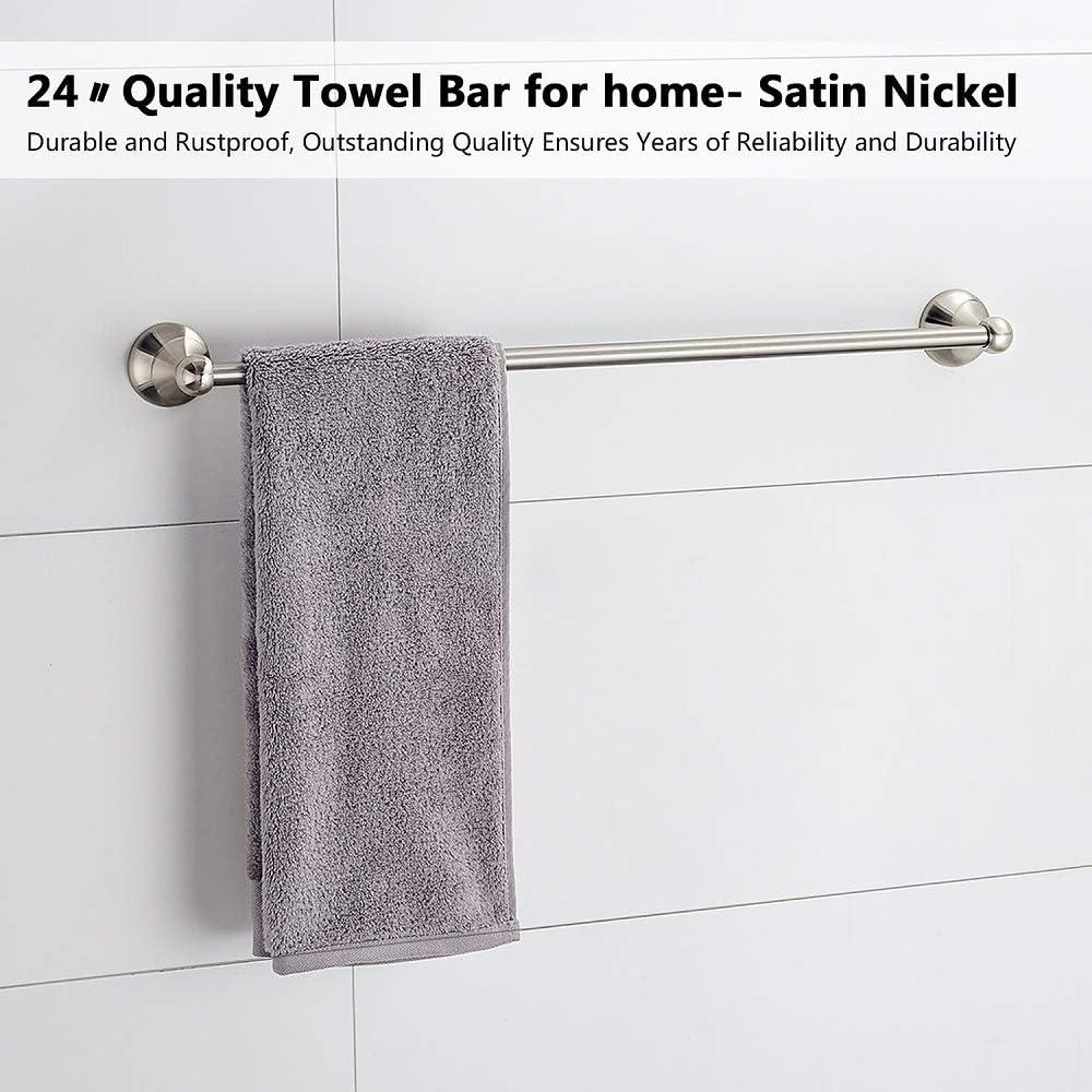 Nickel, with 24 Towel bar 4-Piece Wall Mount Bathroom Hardware Accessory Set Towel Bar Set