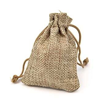 RUBY - 50 Bolsas de arpillera con cordón 8,5 x 6,5cm ...