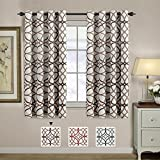 living room design ideas H.VERSAILTEX Window Treatment Panels Ultra Soft Printed Room Darkening Blackout Curtain Panels with Antique Grommet Top Kids Curtains for Bedroom, Taupe and Brown Geo Pattern, 2 Panels, 52 by 63 Inch