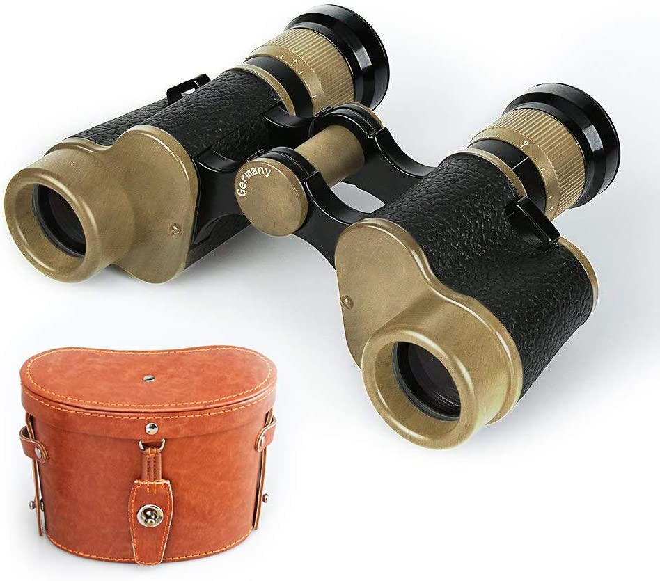 Tsumbay Binoculars, 6X24 HD Military Binoculars Telescope Wide Angle Military Marine Binoculars Scope with Low Light Night Vision, Leather Carry Case, for Hunting, Bird Watching, Traveling Concerts