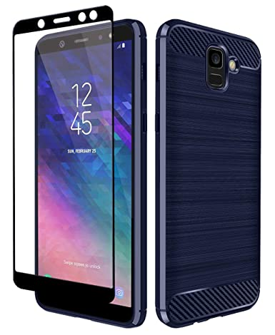 Galaxy A6 Case, Aoways Tempered Glass Screen Protector, Thin Texture Carbon Fiber Shockproof Soft TPU Lightweight Protective Cover for Samsung Galaxy ...