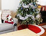 60-Inch Christmas Tree Skirt - Circular Xmas Tree Decoration, Velvet Christmas Tree Décor, Red