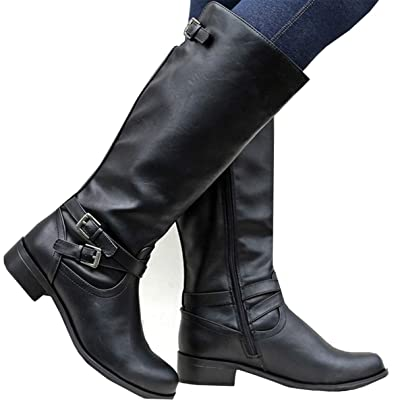 Syktkmx Womens Winter Knee High Boots Riding Military Moto Chunky Low Heel Straps Boots | Knee-High