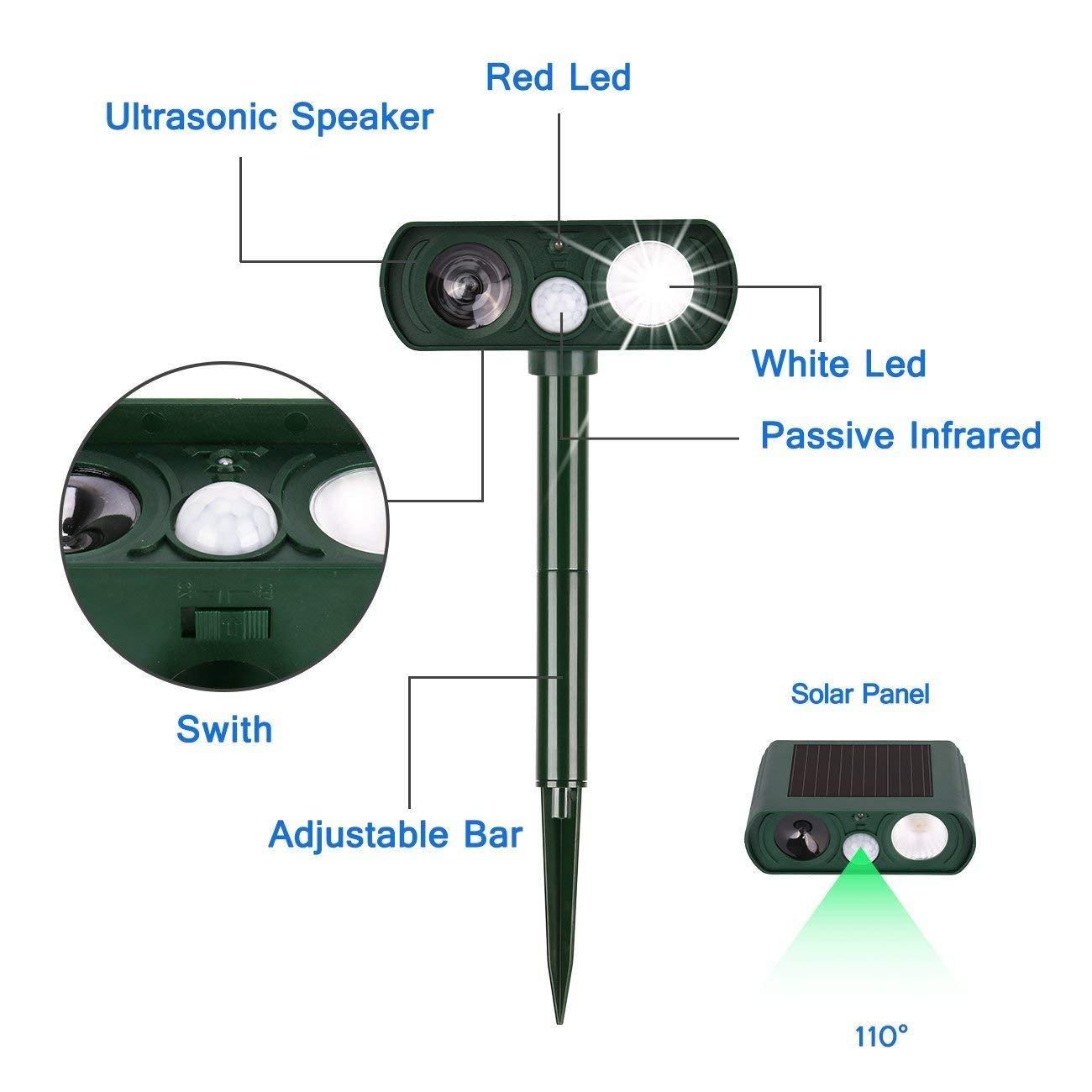 UOKOO Dog Repellent, Outdoor Solar Powered and Weatherproof Ultrasonic Dog/Cat/Mosquito Repeller JOKOO