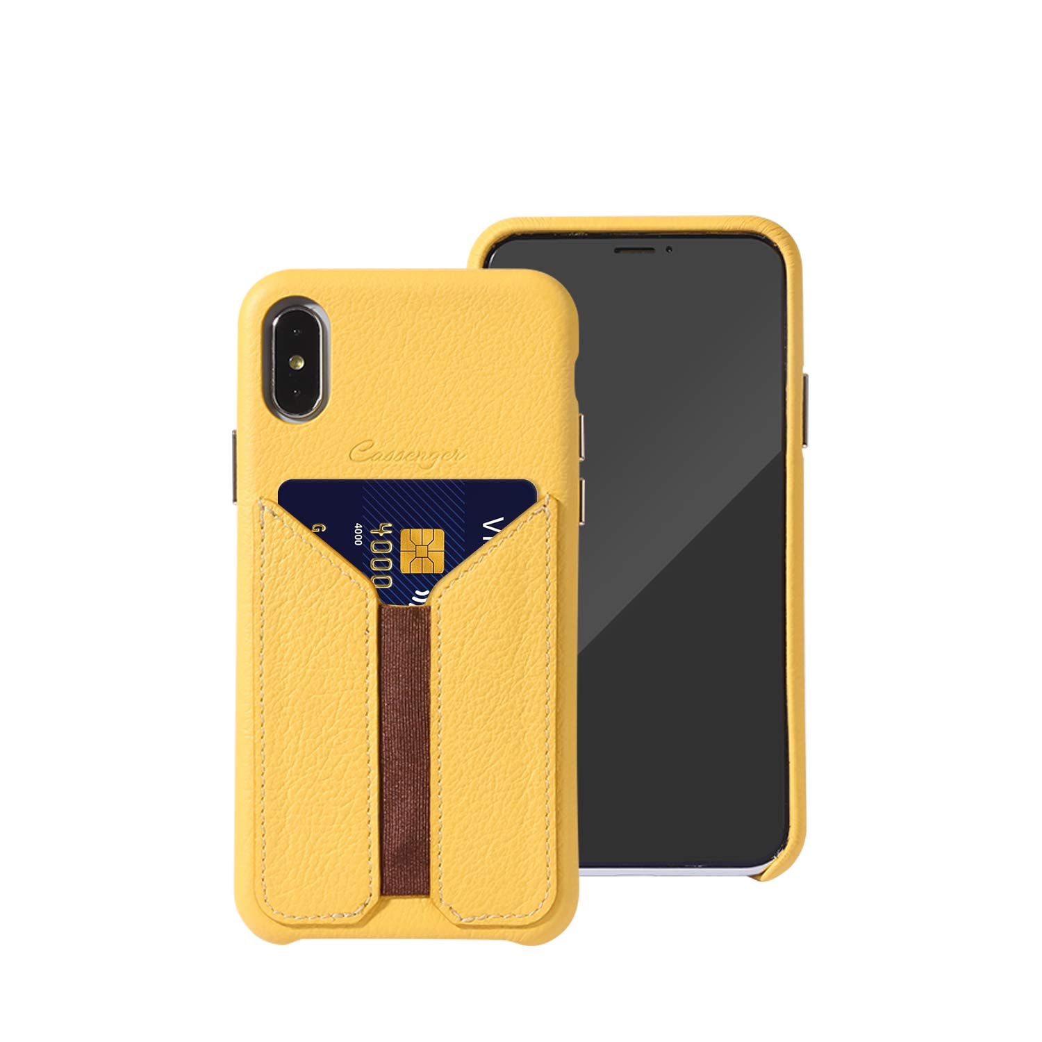 Cassenger Slim Fit Genuine Italian Leather with Card Slot Holder Wallet Case Compatible with iPhone Xs/iPhone X-Yellow