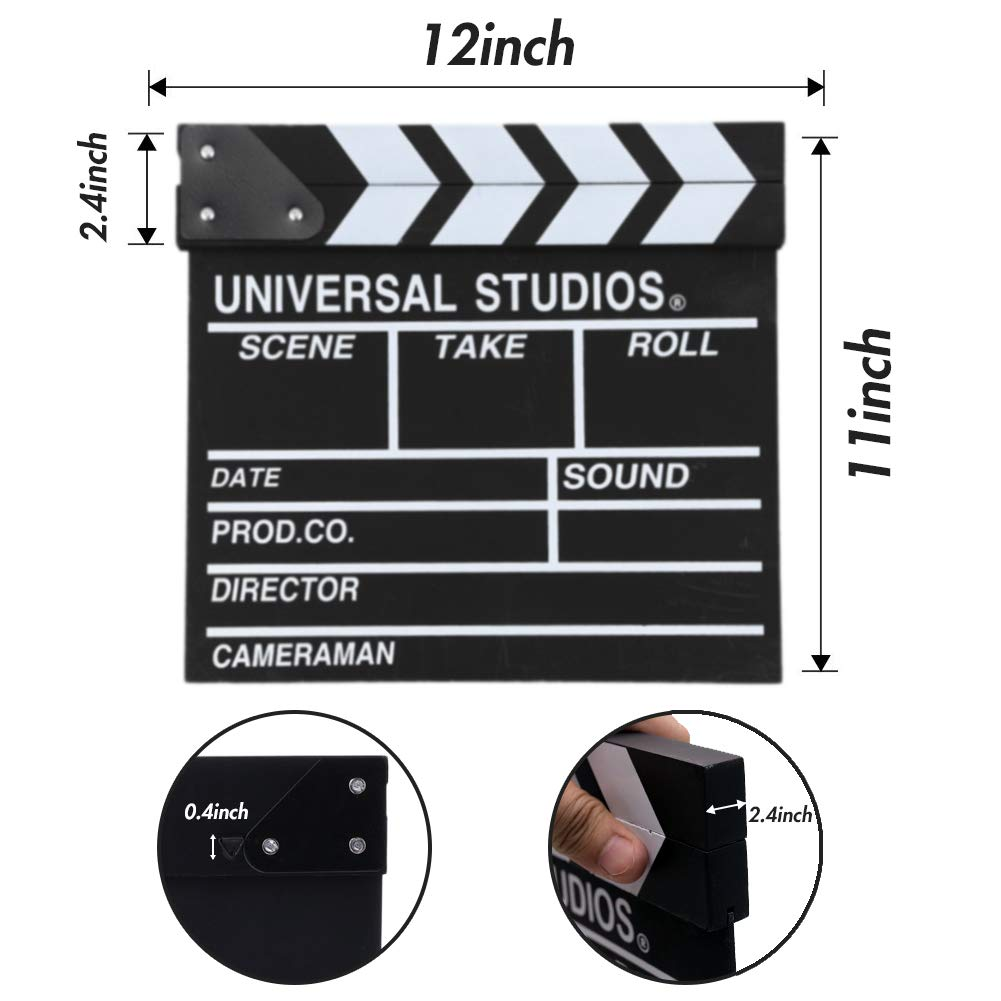 Movie Film Clap Board, Hollywood Clapper Board Wooden Director Board Film Movie Clapboard Accessory with Black & White, 12\