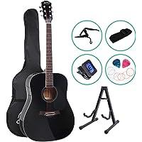 41 Inch Acoustic Guitar Classical Guitar Capo Strap Tuner Pick ALPHA - Black