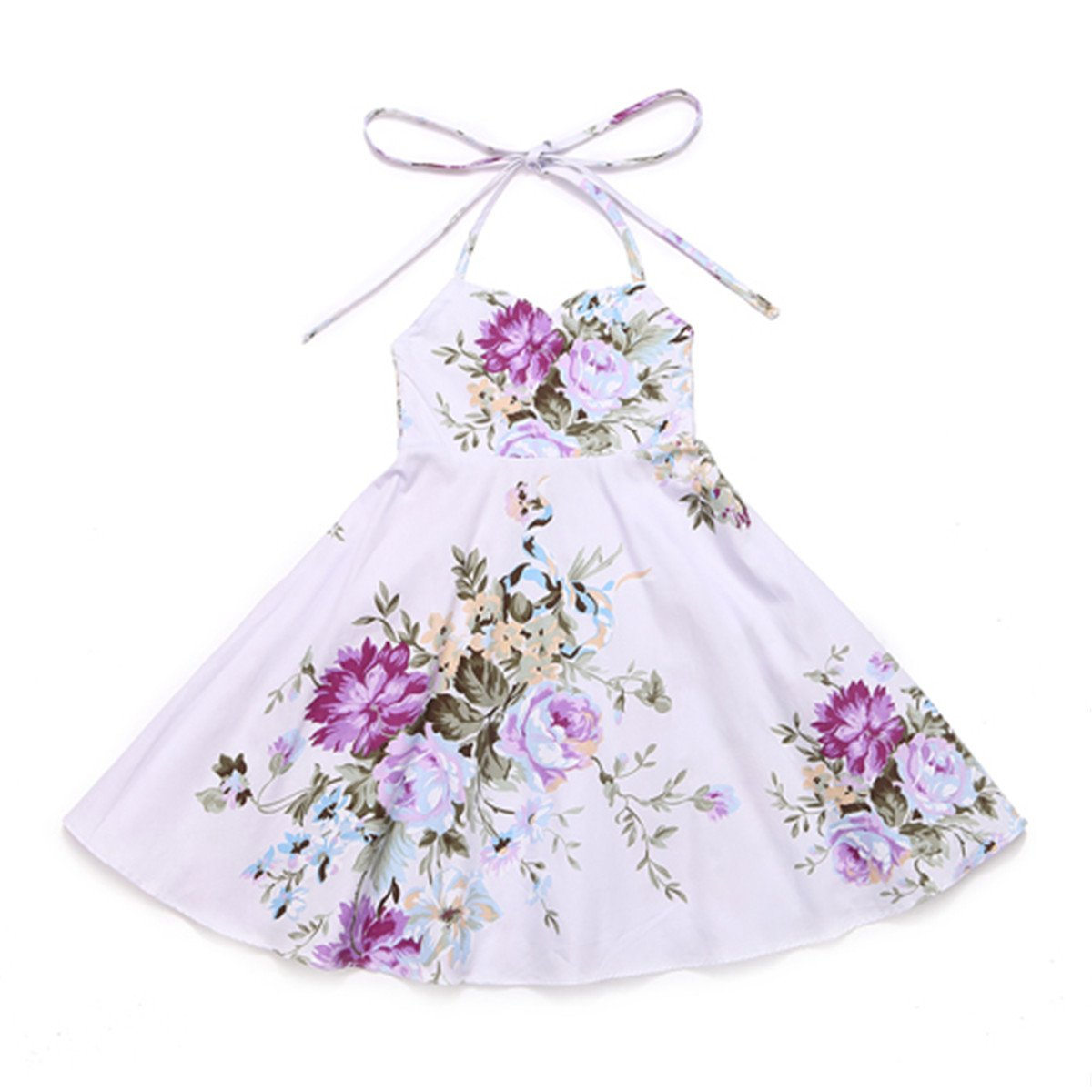 Amazon.com: Chiced Baby Girls Dress Brand Summer Beach Style Floral Print Party Backless Dresses for Girls Vintage Girl Clothing 1-9Yrs: Clothing