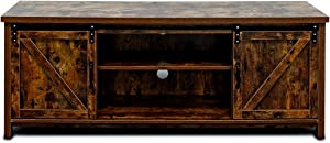 Bizzoelife 60 Inch Barn Door TV Stand Entertainment Center - New Farmhouse Style Sliding TV Cabinet, Living Room Wood Storage Media Console Table with 2 Center Compartments and 2 Cabinets (Retro)
