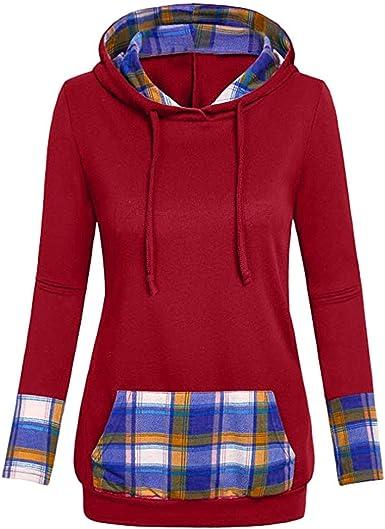 LEEDY Apliques con Capucha de Fondo Mujer con Camisa de Cuello en V con Cuello en Diagonal y Blusa Superior: Amazon.es: Ropa y accesorios