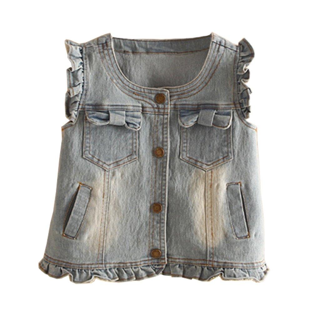 Mud Kingdom Little Girl Single-Breasted Denim Vest SS0365