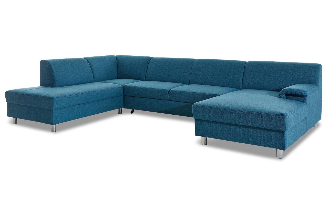 Sofa Wohnlandschaft Jamie Mit Schlaffunktion Blau Webstoff