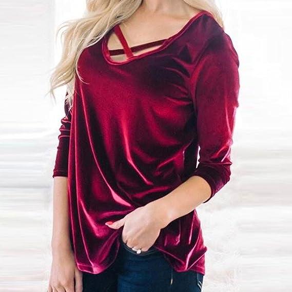 c03e013d3bf83 Fossen Mujer Terciopelo Camisetas de Manga Larga Blusa Cuello de Vendaje Mujer  Blusa Fiesta 2018
