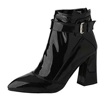 f77e60b6a627 ENMAYER Womens Black Patent Leather Block Heels Pointed Toe Buckle Zip  Winter Ankle Boots 4 B