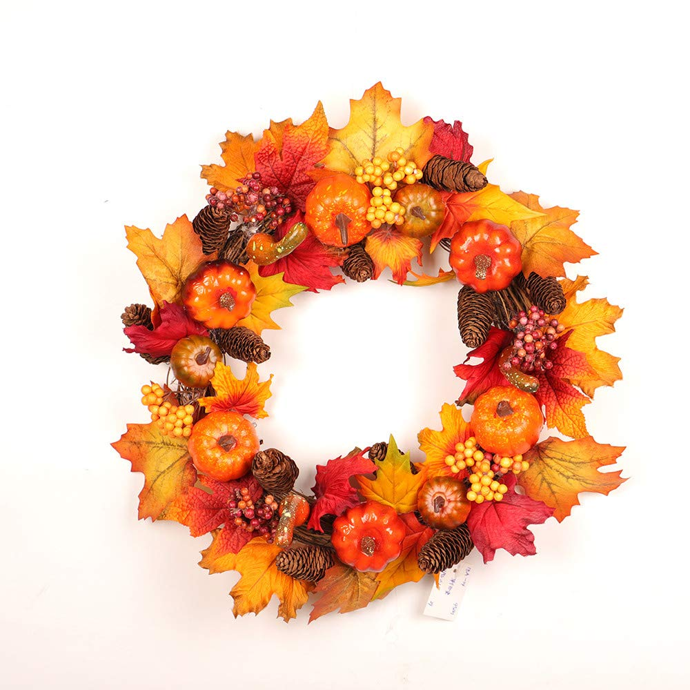 Dowager 19.6 Inch Autumn Artificial Maple Leaf Front Door Wreath Home Décor for Home Indoor Outdoor Gate Window Wall Sunflowers Leaf Pumpkins and Berries by Dowager_Home Decor