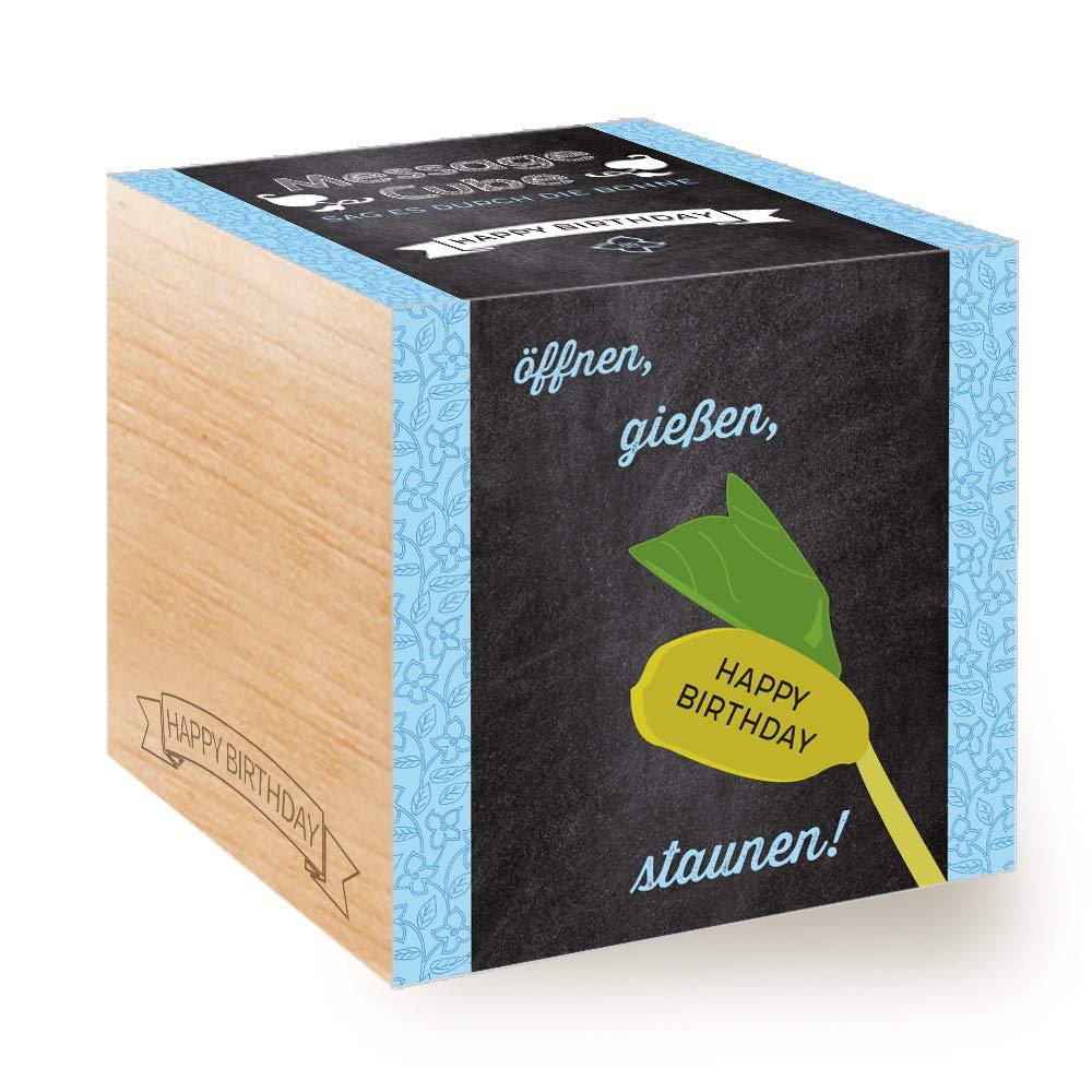 Feel Green Message Cube, Holzwürfel Mit Lasergravierter Glücksbohne'Happy Birthday', Nachhaltige Geschenkidee, 100% Eco Friendly, Anzuchtset, Made in Austria