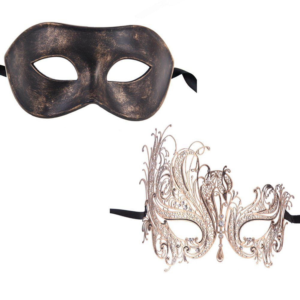 Xvevina Vintage Swan Women Metal Mask Men Masquerade Mask Venetian Couple Masks for