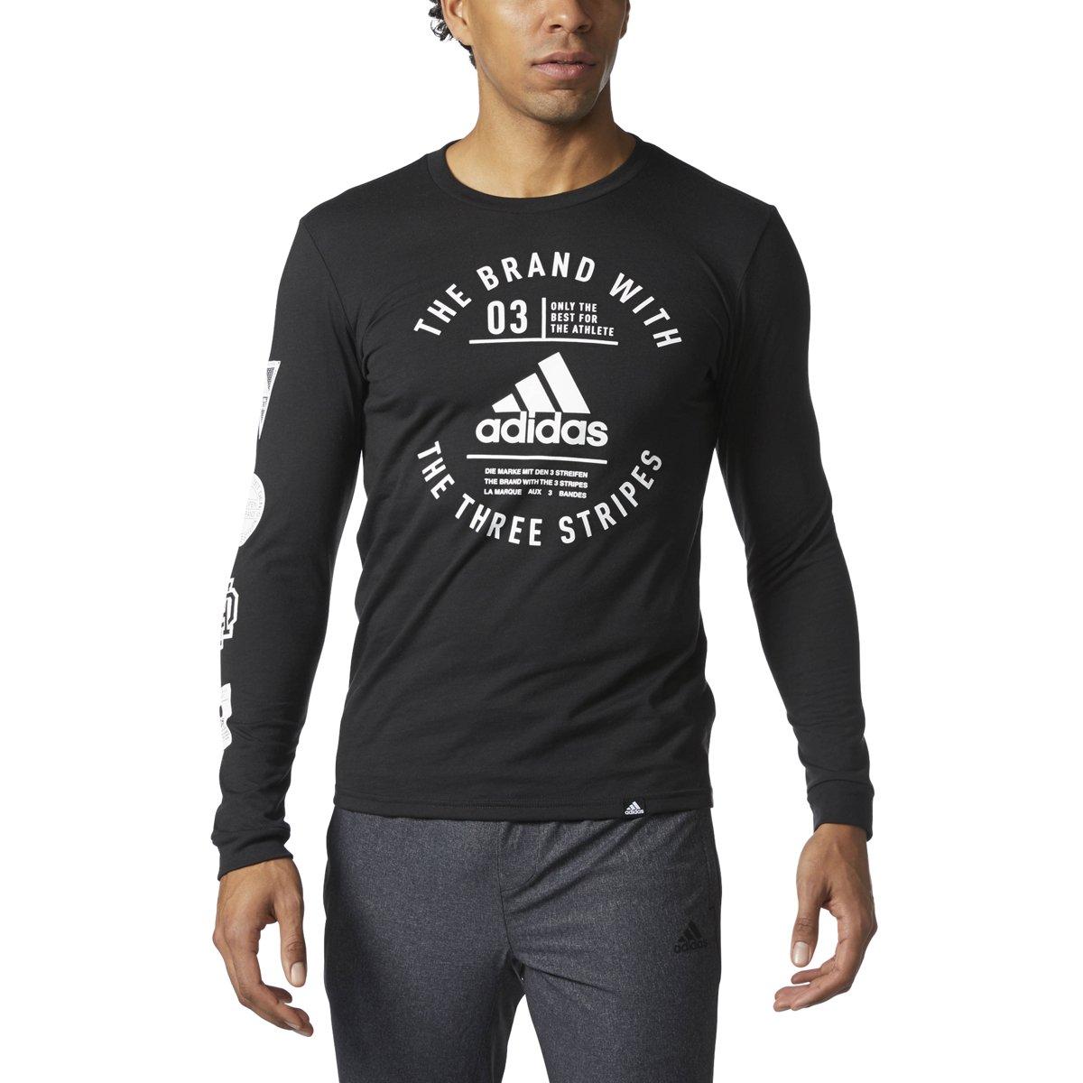 Adidasメンズ長袖グラフィックTシャツ B01N4G1K8A XL|ブラック/ホワイト ブラック/ホワイト XL